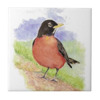 Watercolor American Robin Wildlife Nature art Small Square Tile