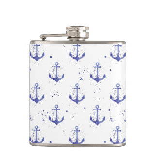 Watercolor Anchor Pattern 2 Hip Flask