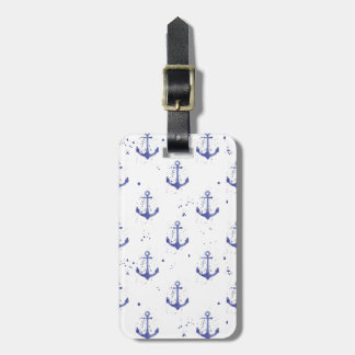 Watercolor Anchor Pattern 2 Luggage Tag