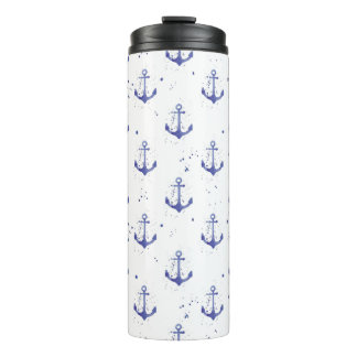 Watercolor Anchor Pattern 2 Thermal Tumbler
