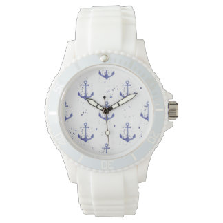 Watercolor Anchor Pattern 2 Watch