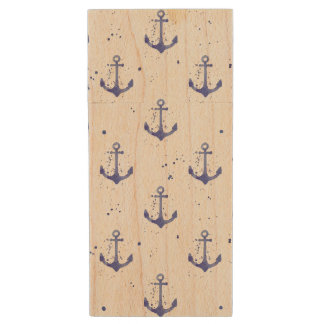 Watercolor Anchor Pattern 2 Wood USB Flash Drive