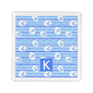 Watercolor Anchor Pattern | Add Your Initial Acrylic Tray