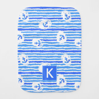 Watercolor Anchor Pattern   Add Your Initial Burp Cloth