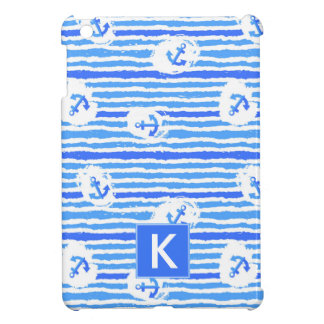 Watercolor Anchor Pattern | Add Your Initial iPad Mini Case