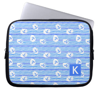 Watercolor Anchor Pattern | Add Your Initial Laptop Sleeve