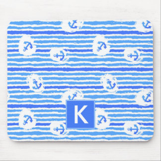 Watercolor Anchor Pattern | Add Your Initial Mouse Mat