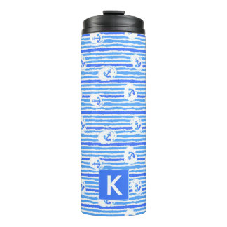 Watercolor Anchor Pattern | Add Your Initial Thermal Tumbler