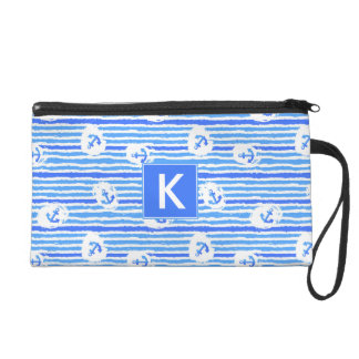 Watercolor Anchor Pattern | Add Your Initial Wristlet Purse
