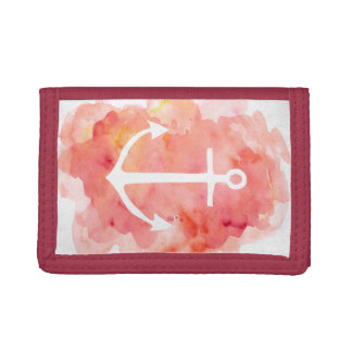 Watercolor Anchor Wallet in Red