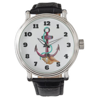 Watercolor Anchor With Rope And Seashell Wristwatch