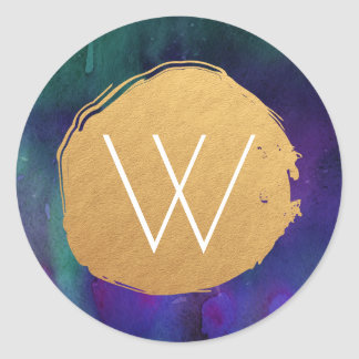 Watercolor and Faux Foil Painted Circle Monogram Round Sticker