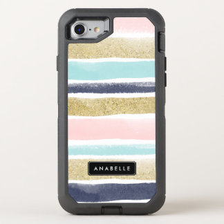 Watercolor and Faux Glitter Stripes OtterBox Defender iPhone 7 Case