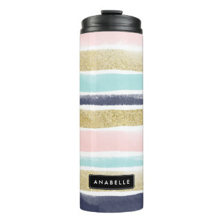 Watercolor and Faux Glitter Stripes Thermal Tumbler