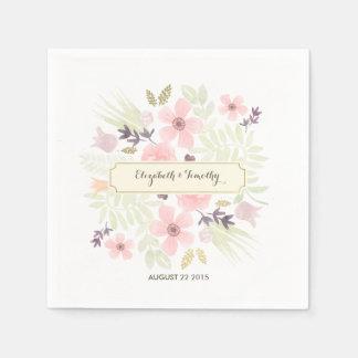 Watercolor and Gold Garden Menu Custom Napkins Paper Serviettes
