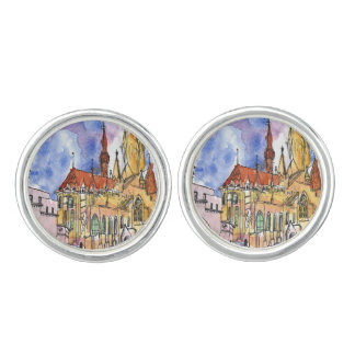 Watercolor and ink cathedral cuff links