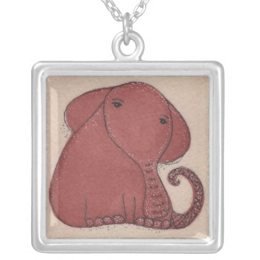 Watercolor and Ink Elephant Necklace