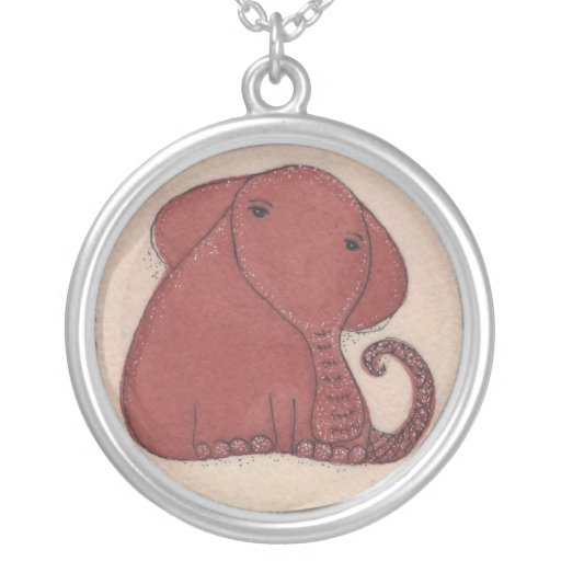 Watercolor and Ink Elephant Necklaces