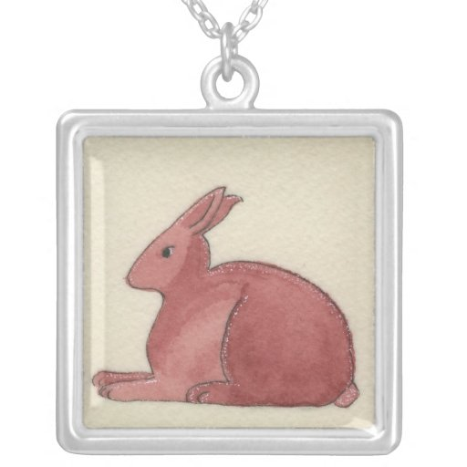 Watercolor and Ink Red Rabbit Custom Jewelry