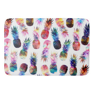 watercolor and nebula pineapples illustration bath mats