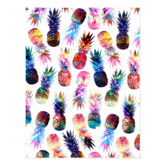 watercolor and nebula pineapples illustration postcard