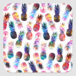 watercolor and nebula pineapples illustration square sticker
