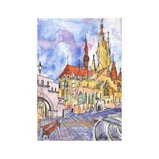 Watercolor and pen cathedral on canvas