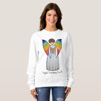 Watercolor Angel With Rainbow Wings Reading A Book Sweatshirt