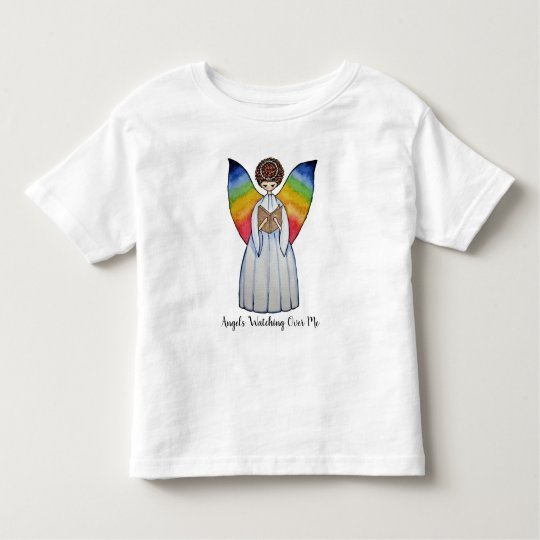 Watercolor Angel With Rainbow Wings Reading A Book Toddler T-Shirt