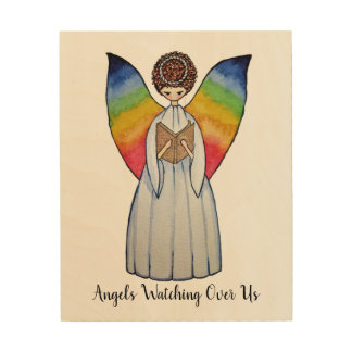 Watercolor Angel With Rainbow Wings Reading A Book Wood Wall Art