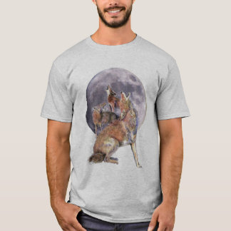 Watercolor Animal Coyote Pack Howling at the Moon T-Shirt