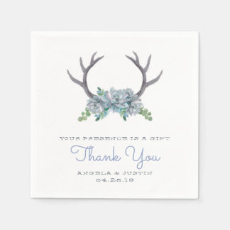 Watercolor Antlers and Echeveria Country Wedding Disposable Serviettes