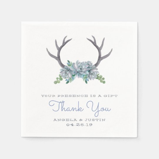 Watercolor Antlers and Echeveria Country Wedding Disposable