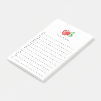 Watercolor Apple   Lined Checklist Post-it Notes