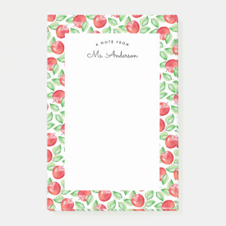 Watercolor Apple Pattern   Personalized Post-it Notes