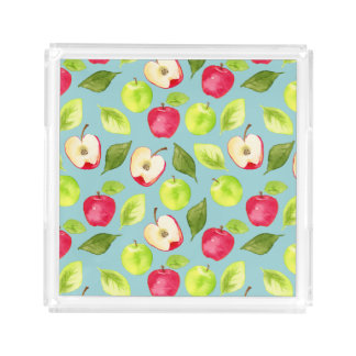 Watercolor Apples Pattern Acrylic Tray