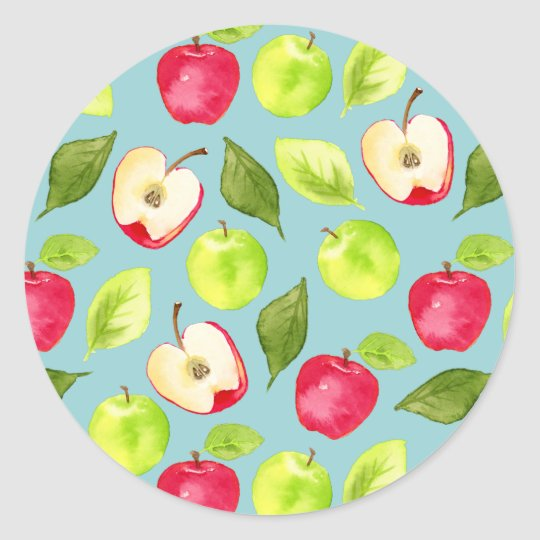 Watercolor Apples Pattern Classic Round Sticker