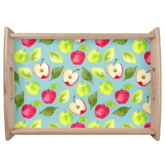 Watercolor Apples Pattern Serving Tray