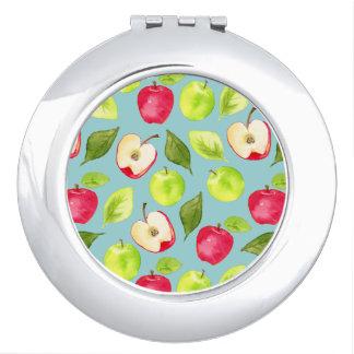 Watercolor Apples Pattern Travel Mirror