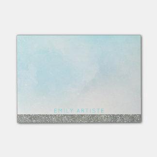 Watercolor Aqua Blue | Personalized Silver Glitter Post-it Notes
