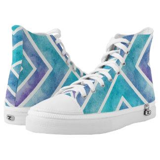 Watercolor aqua, purple geometric chevron stripes printed shoes