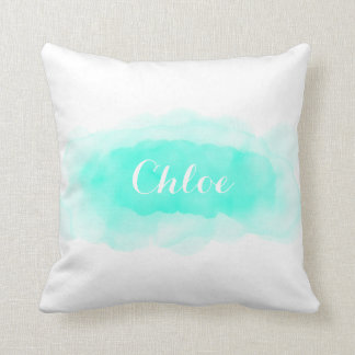 Watercolor Aqua Splash Custom Pillow