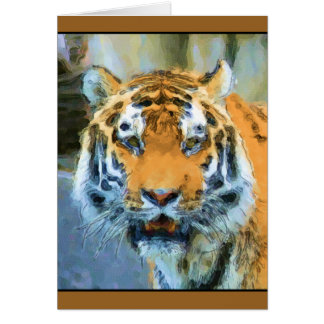 Watercolor aquarelle tiger portrait note card