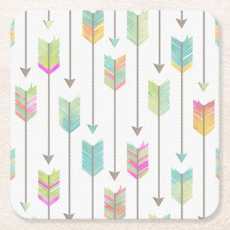 Watercolor Arrows Pattern Square Paper Coaster