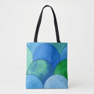 Watercolor Art Bag - Blue Green Turquoise Scallops