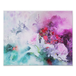 watercolor art,colorful flowers poster