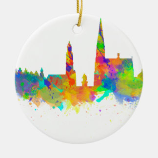 Watercolor art print of the skyline of Antwerp Round Ceramic Decoration