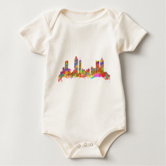 Watercolor art print of the skyline of Atlanta Baby Bodysuit