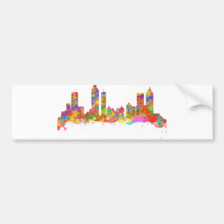 Watercolor art print of the skyline of Atlanta Bumper Sticker