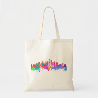 Watercolor art print of the skyline of Seattle USA Tote Bag